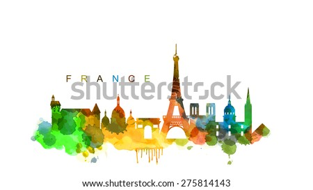 vector france and landmark architecture vector set - stock vector