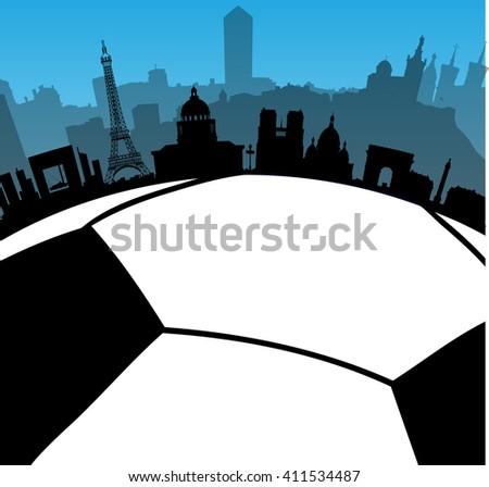 Vector France cities skylines with football, soccer ball. - stock vector