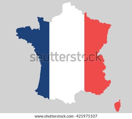 Vector France topographic map isolated on grey background. France flag. borders of country. Flat style design. French republic border contour. Original colors flag. G7 G8 member summit participant - stock vector