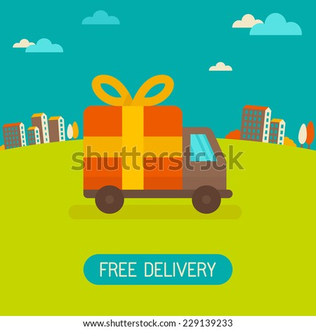 Vector free delivery concept in flat style - illustration for banner for website - transportation truck with a gift - stock vector