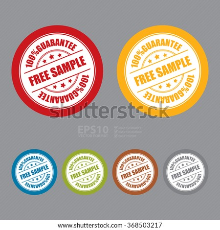 Vector : Free Sample 100% Guarantee Campaign Promotion, Product Label, Infographics Flat Icon, Sign, Sticker - stock vector