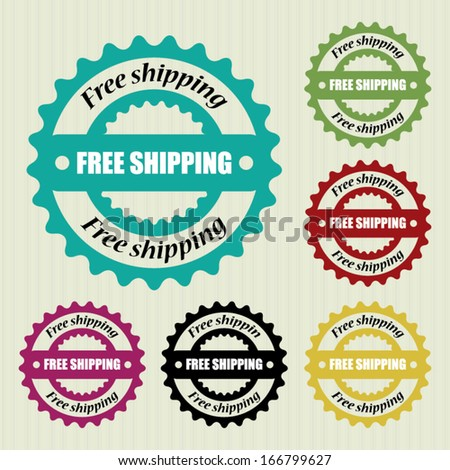 Vector free shipping vintage stamp. - stock vector