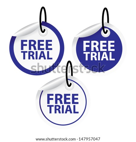 Vector. Free trial labels and stickers set. - stock vector