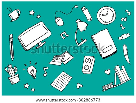 vector freehand drawing back to school  for background and pattern - stock vector