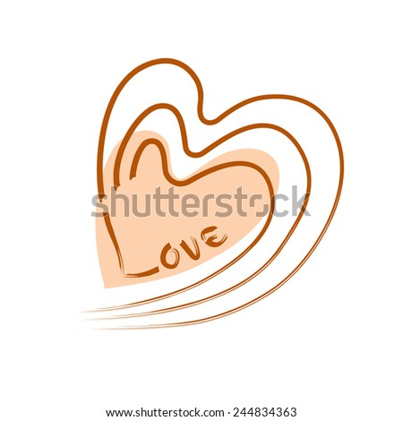 "Vector Freehand Heart Design with Text  ""Love"", Isolated On White Background - stock vector"