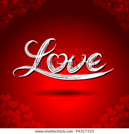 """Vector freehand letters """"love""""  text doodles on red heart shape pattern background - stock vector"""