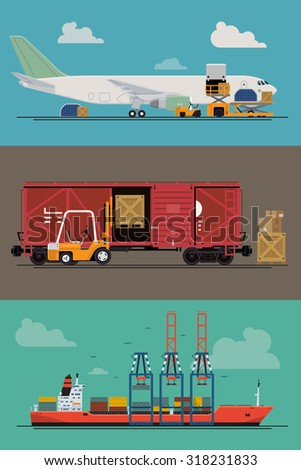 Vector freight logistics and transportation ways featuring seaway cargo shipping, airway freight line, freight railway - stock vector