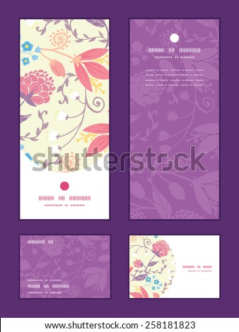 Vector fresh field flowers and leaves vertical frame pattern invitation greeting, RSVP and thank you cards set - stock vector