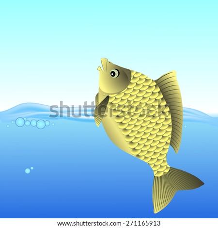 Vector Freshwater Fish Swimming in the Blue Water. - stock vector