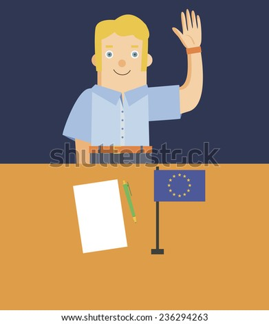 Vector. Friendly EU customs officer. Welcoming smiling European customs official. Blond European bureaucrat. - stock vector