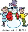 vector Frosty the Snowman and friends - stock vector