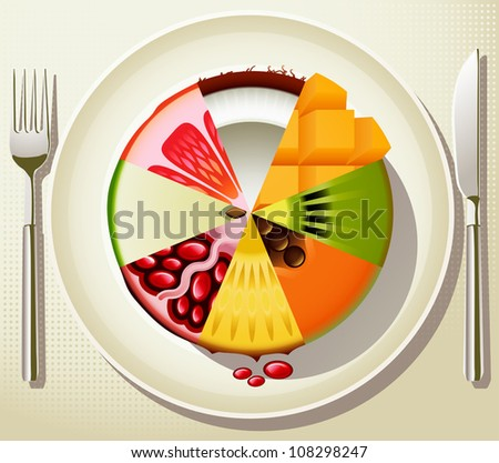 Vector fruit composition on the plate as a concept of healthy diet - stock vector