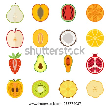 Vector fruit icon set - pear, peach, apricot, watermelon, orange, Apple, melon, coconut, lemon, strawberry, avocado, papaya, pomegranate, persimmon, kiwi, - stock vector