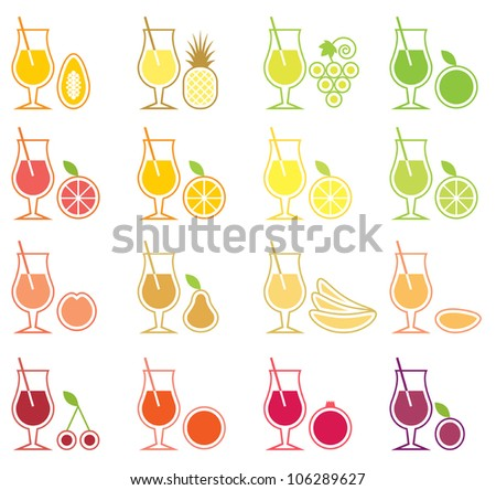 Vector Fruit Juice Icon Set - stock vector