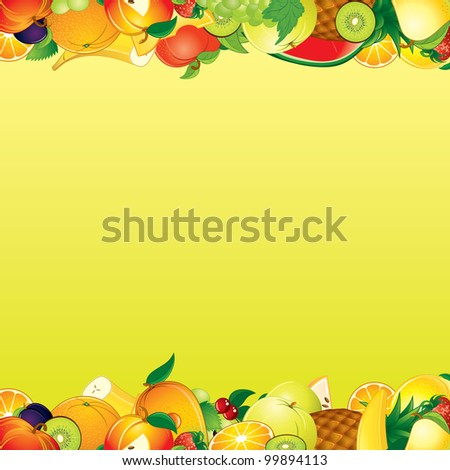 Vector Fruits Background - stock vector