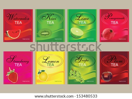vector fruits label,vector fruit tea label,vector fruit tea tag,organic tea with strawberry and pomegranate and lemon and kiwi and grape,editable vector,design for food packaging - stock vector