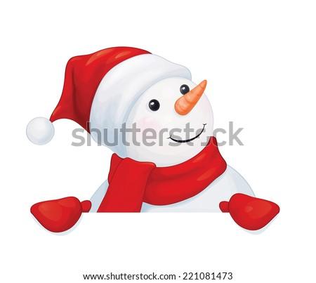Vector  fun snowman hiding by blank isolated. - stock vector