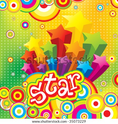Vector Funky Stars - stock vector