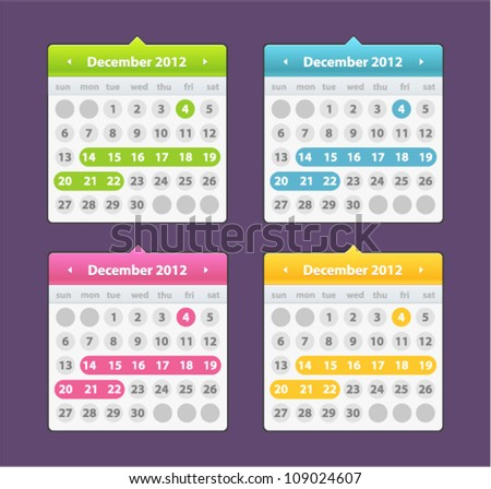 Vector funny calendar icon in different colors - stock vector