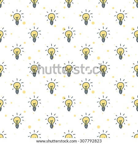 Vector funny doodle style hand drawn light bulbs seamless pattern - stock vector