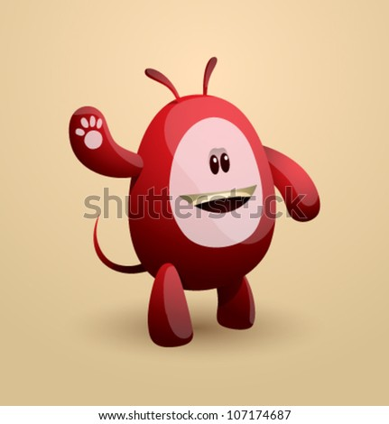 Vector funny egg monster 03 - stock vector