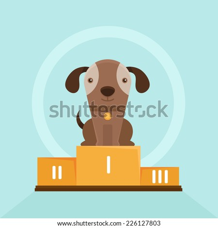 Vector funny puppy whining in a dog show - flat illustration - smiling pet on the first place of the pedestal - stock vector