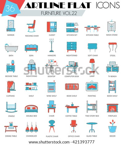 Vector Furniture ultra modern outline artline flat line icons for web and apps. Furniture icons set, Furniture flat line icons, Furniture icons, Furniture interior icons, Furniture decoration icons. - stock vector