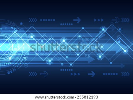 vector future network telecom technology, abstract background - stock vector