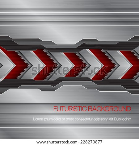 Vector futuristic metallic background - stock vector
