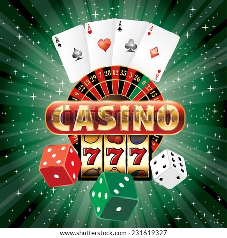 vector gambling casino elements on green star-burst - stock vector
