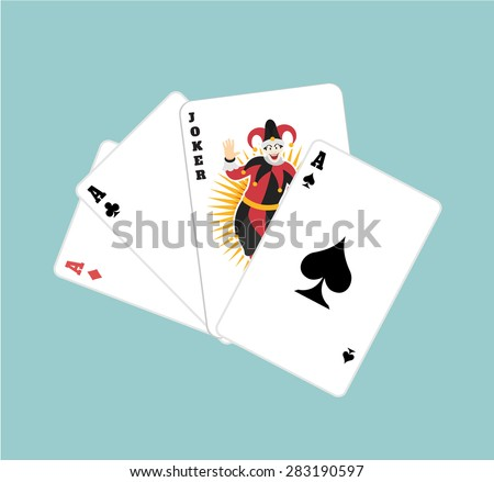 Vector game cards flat illustration - stock vector