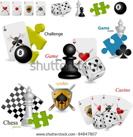 Vector game icons set - stock vector