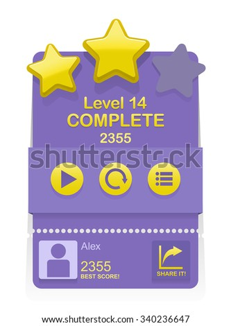 Vector game interface with level complete results  - stock vector
