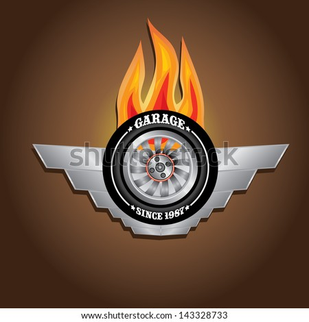 vector garage label with wheel and fire wings. Vector automotive, motorcycle badge. Signs and labels. - stock vector