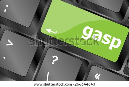 vector gasp word on keyboard key, notebook computer button - stock vector