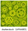 Vector gears background in green, technical, mechanical illustration pattern - stock vector