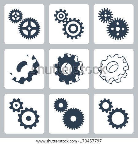 Vector gears, cogwheels icons set - stock vector