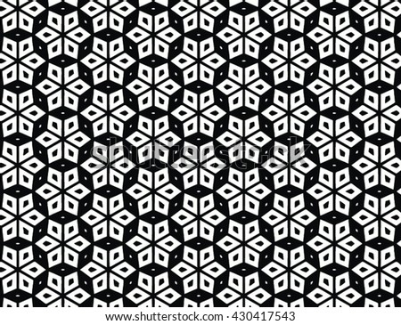 Vector geometric abstract moorish pattern in black and white - stock vector