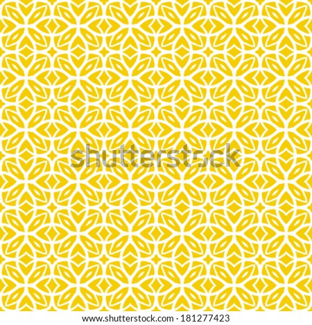 Vector geometric art deco pattern with lacing shapes in yellow and white.  - stock vector
