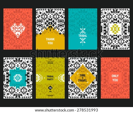 Vector geometric card templates for design wedding cards, party invitations, birthday, Valentin's day, cover with tribal,  navajo, ethnic, geometric elements  - stock vector