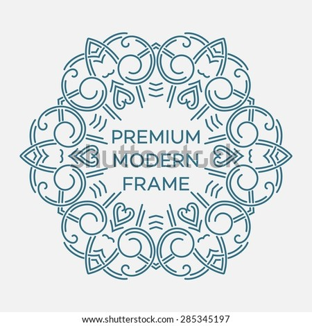 Vector geometric frame in mono line style. Monogram design element. Vector illustration EPS 10 - stock vector