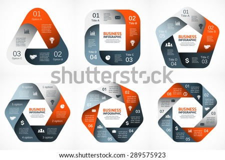 Vector geometric infographic. Template for cycle diagram, graph, presentation and round chart. Business concept with 3, 4, 5, 6, 7, 8 options, parts, steps or processes. Abstract data background. - stock vector