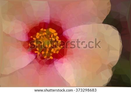 vector geometric macro of a pink flower - stock vector