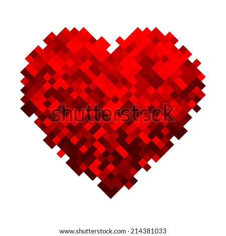 Vector Geometric Mosaic Heart . Template for Valentines Day Design - stock vector