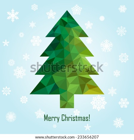 vector geometric new year tree - stock vector