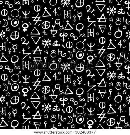 Vector geometric pattern with alchemy symbols and shapes in medium size. Abstract occult and mystic signs. Back of tarot cards design in black and white colors. Magic print and astrology background - stock vector