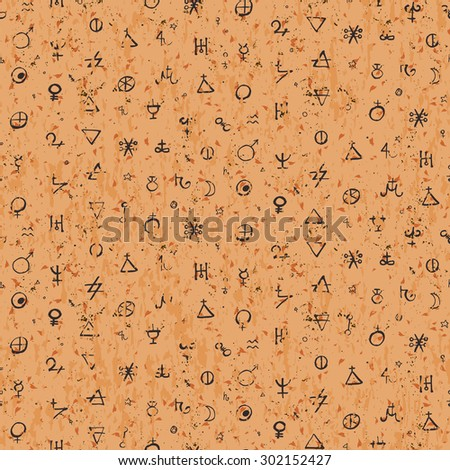Vector geometric pattern with alchemy symbols and shapes. Small abstract occult, mystic signs on vintage paper. Back of tarot cards design. Magic print and astrology background. Ancient manuscript - stock vector