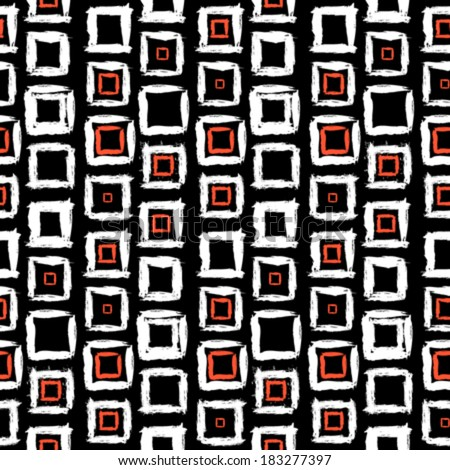Vector geometric pattern with small hand painted squares placed in rows in bright red, white and black - stock vector