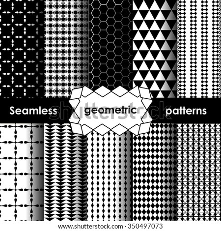 Vector Geometric Seamless Patterns Set. Black and white Textures on white - stock vector