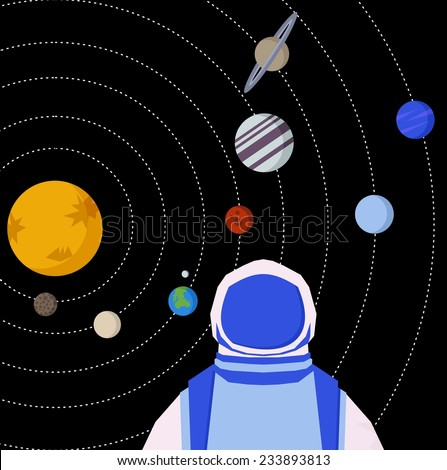 Vector geometric triangle illustration of  solar system. Interstellar spaceman and  Planet on orbit.  - stock vector